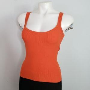 Michael Kors orange rib knit tank made in Italy